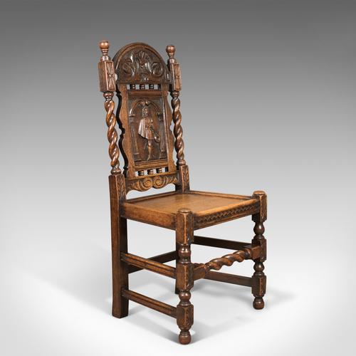 Antique Flemish Hall Chair, Carved Oak c.1900 (1 of 1)