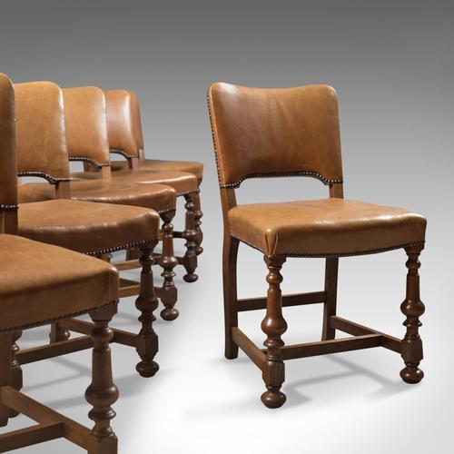 Set of 6 Antique Dining Chairs, Oak & Leather, English, Edwardian C.1910 (1 of 1)