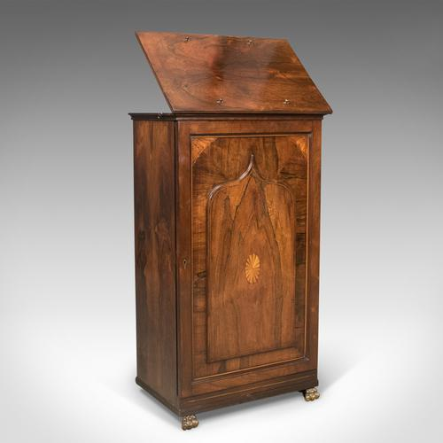English Regency Antique Music Cabinet with Stand, Rosewood C.1820 (1 of 1)