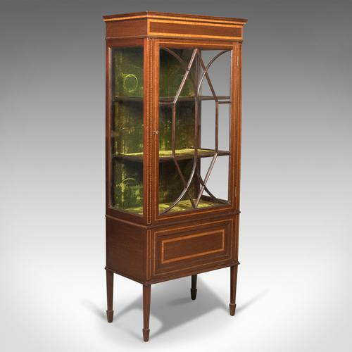 Antique Glazed Display Cabinet, Mahogany, Edwardian, English c.1910 (1 of 1)