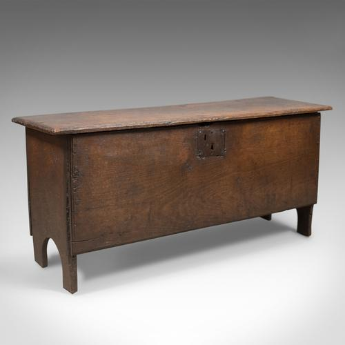 Antique Coffer, English 6 Plank Sword Chest, Oak, Late 17th Century c.1680 (1 of 1)