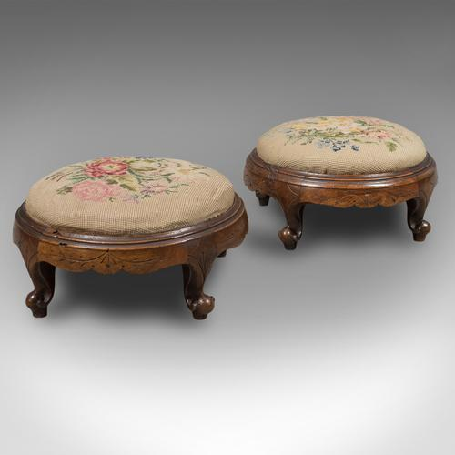Pair of Antique Foot Stools, English, Victorian, Needlepoint, Carriage c.1860 (1 of 1)