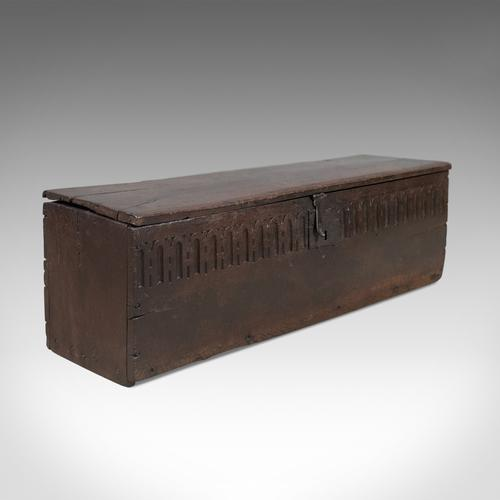 Antique Coffer in Oak, 6 Plank Sword Chest, English, Mid 17th Century Trunk c.1660 (1 of 1)
