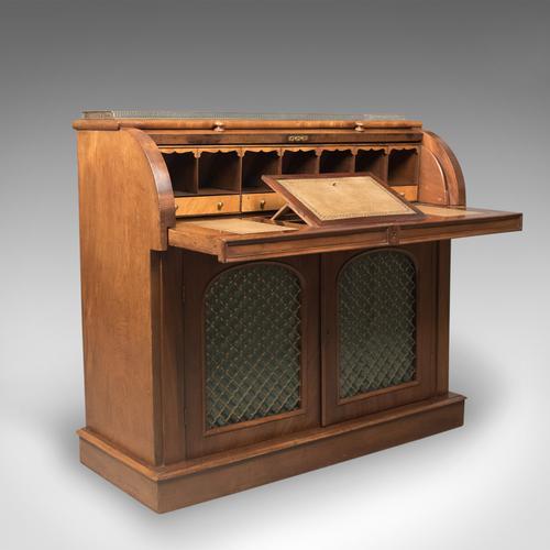 Antique Cylinder Bureau Writing Desk, Victorian, English, Mahogany c.1850 (1 of 1)