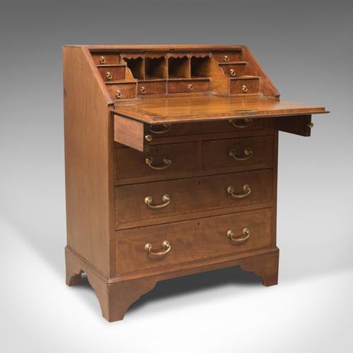 Edwardian Antique Bureau, Mahogany & Oak, English Desk with Secret Drawer c.1910 (1 of 1)