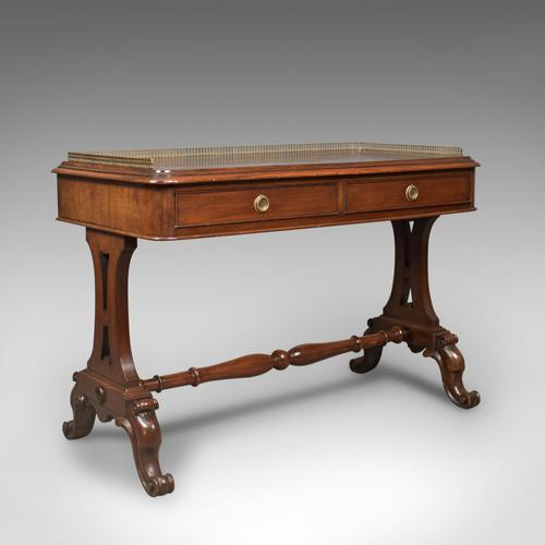 Early Victorian Antique Mahogany Writing Library Table, English c.1840 (1 of 1)