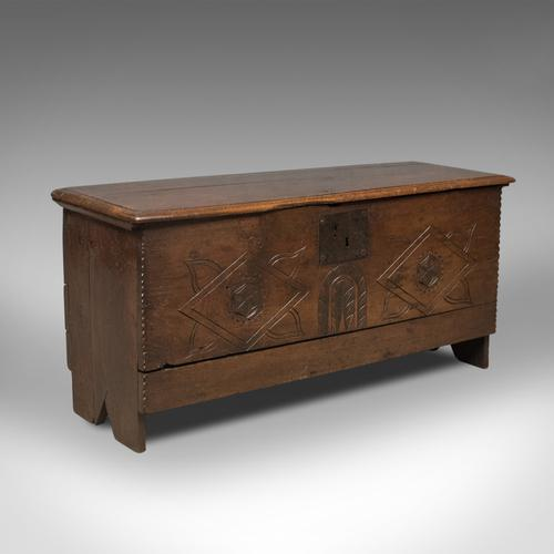 Antique Coffer, 6 Plank Sword Chest, English Oak, 17th Century c.1670 (1 of 1)
