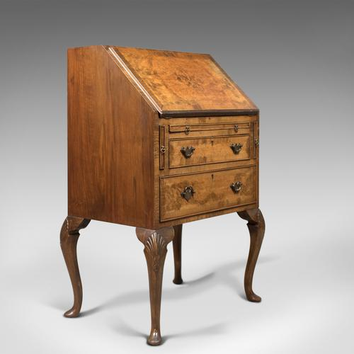 Edwardian Antique Bureau in English Queen Anne Revival Taste, Burr Walnut C.1910 (1 of 1)