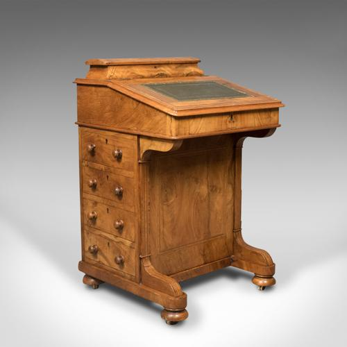 Victorian Antique Davenport, Burr Walnut, English, Desk, Writing Table C.1850 (1 of 1)