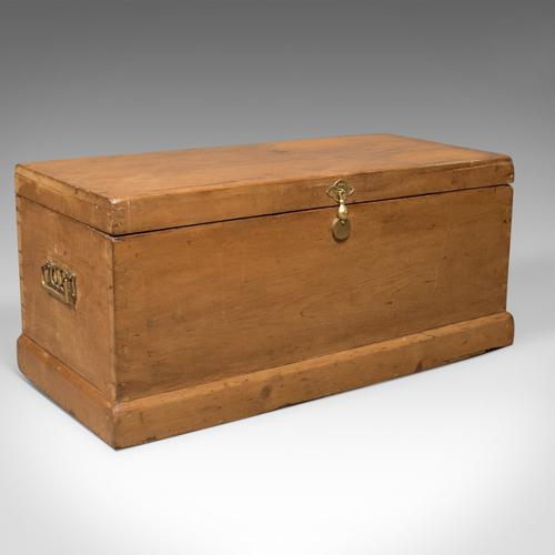 Victorian Antique Pine Trunk, English Carriage Chest c.1860 (1 of 1)