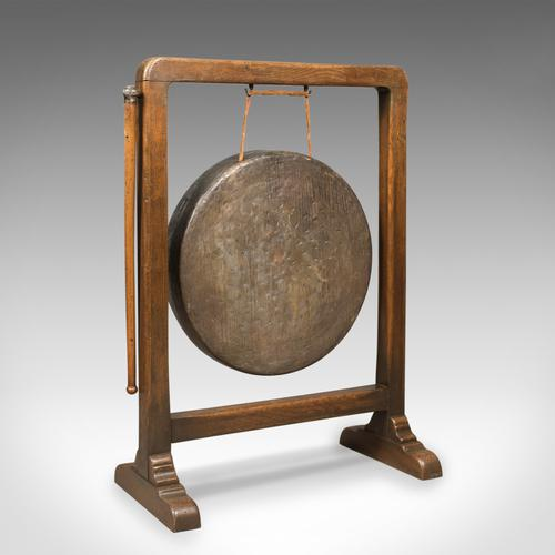 Large Victorian Dinner Gong with Beater in English Oak Frame c.1870 (1 of 1)