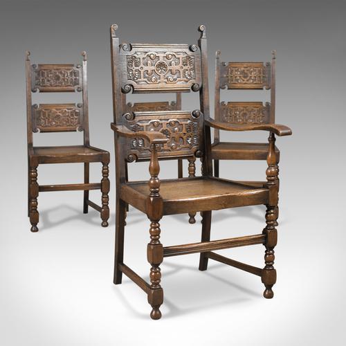 Scottish Set of 4 Antique Oak Dining Chairs C.1900 (1 of 1)