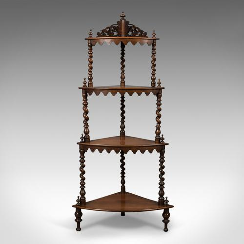 Antique Whatnot, English, Victorian, Rosewood, Corner Display Stand c.1860 (1 of 1)