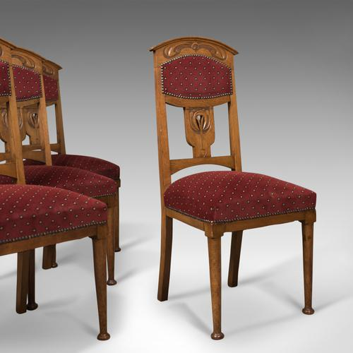 Antique Set of 4 Dining Chairs, Liberty Taste, English, Oak, Edwardian c.1910 (1 of 1)