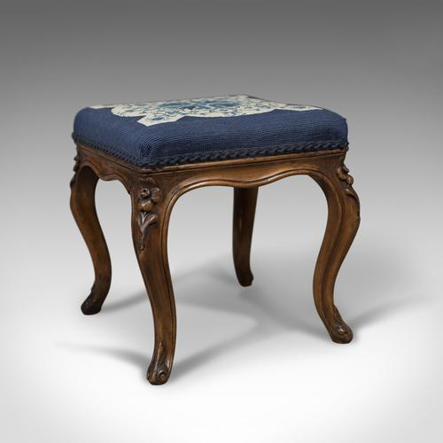 Antique Foot Stool in Walnut, Needlepoint Tapestry Cloth, English, Victorian c.1860 (1 of 1)