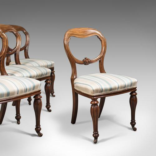Antique Set of 4 Dining Chairs, Early Victorian Balloon Back, Mahogany c.1840 (1 of 1)