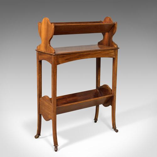 Antique Bookstand, English, Edwardian Mobile Book Shelf, Mahogany c.1910 (1 of 1)