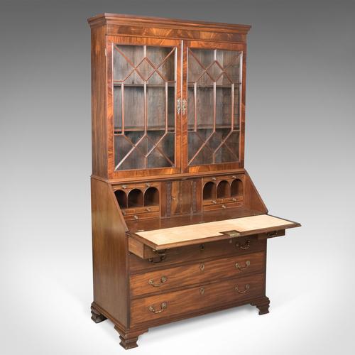 Antique Bureau Bookcase, English, Late Georgian, Mahogany, Writing Desk c.1800 (1 of 1)