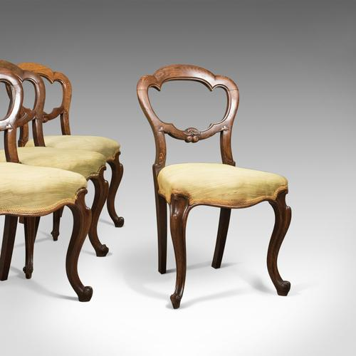 Antique Set of 4 Oak Dining Chairs, English, Victorian, Balloon Back c.1860 (1 of 1)