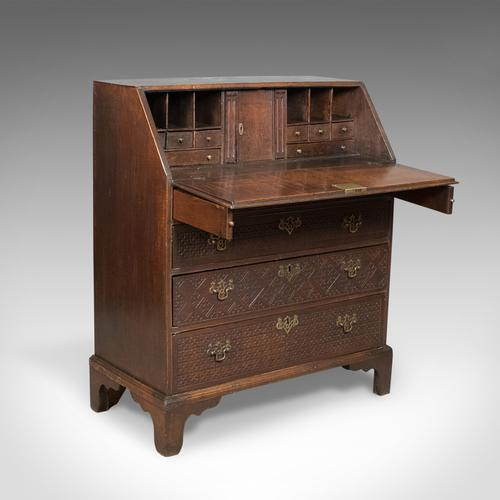 Georgian Antique Bureau, English Oak Writing Desk c.1800 (1 of 1)