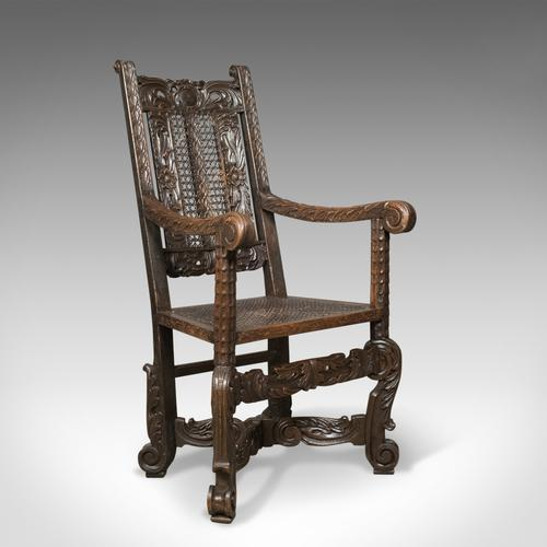 Antique Armchair, Victorian Carved Side, Hall Chair, English, Oak, Bergere c.1880 (1 of 1)