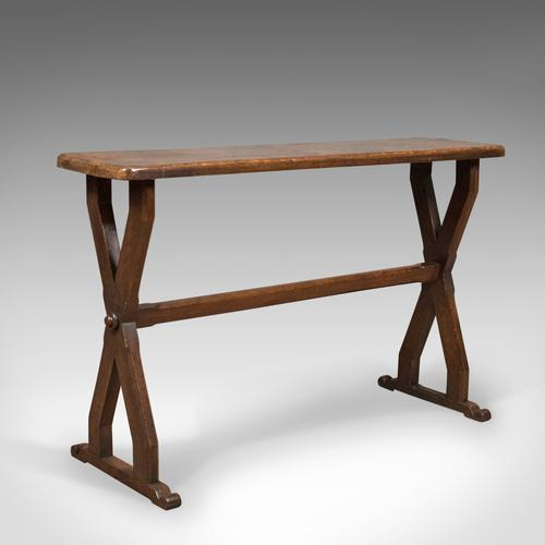 Antique Console Table, Narrow X-Frame, English, Oak, Gothic Overtones c.1880 (1 of 1)