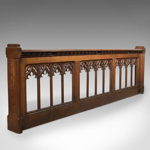Antique Pew Front, Victorian Gothic Choir Stall, English, Oak, Pugin Overtones c.1880 (1 of 1)