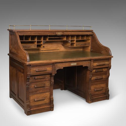 Antique Roll Top Desk, Shannon File Co, English, Walnut, Edwardian c.1910 (1 of 1)