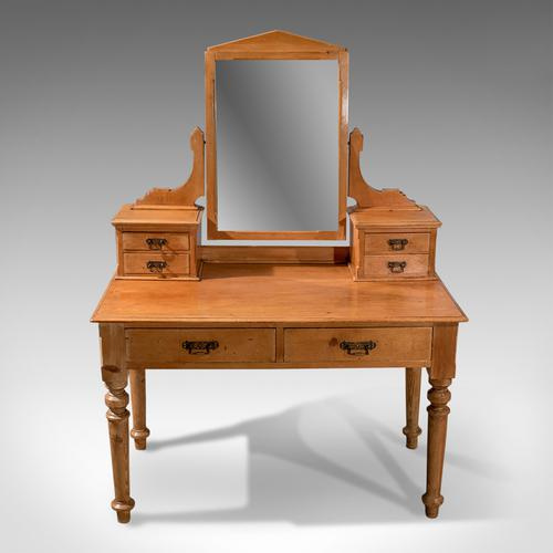 Antique Dressing Table, Victorian Pine, Mirrored Vanity Bedroom Stand c.1900 (1 of 1)