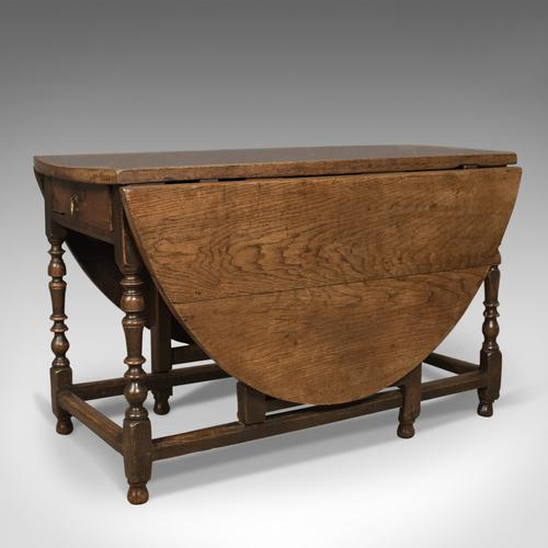 Antique Drop Leaf Dining Table, English Oak, Ovular, Six Seater c.1700 (1 of 1)