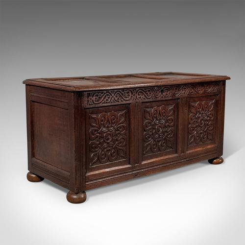 Antique Coffer, English Oak Joined Chest, Queen Anne c.1700 (1 of 1)