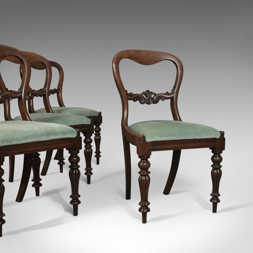 Set of Four Antique Dining Chairs, English, Buckle Back, Mahogany c.1835 (1 of 1)