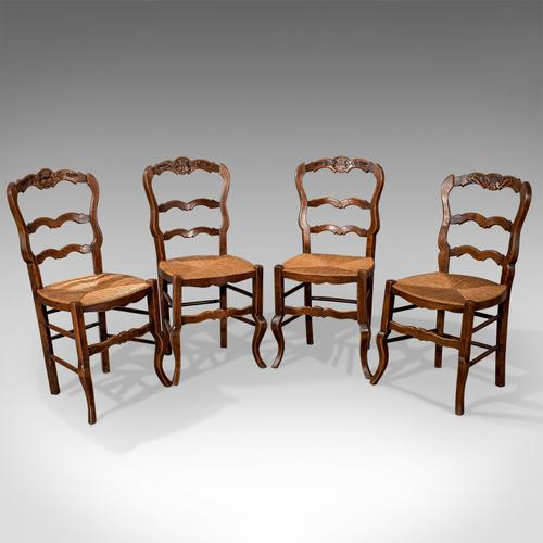 Set of 4 Antique Dining Chairs in Dark Beech, French Country Kitchen c.1900 (1 of 1)