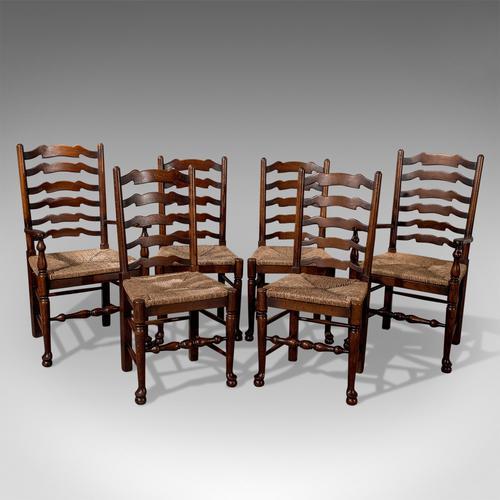 Set of Six Antique Oak Wavy Line Ladderback Dining Chairs, Edwardian c.1910 (1 of 1)