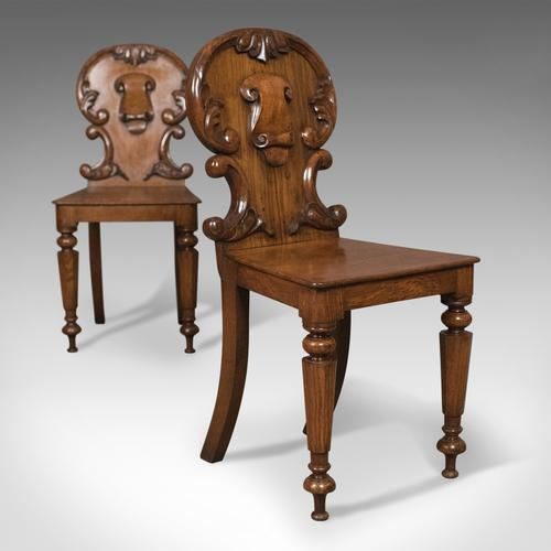 Pair of Scottish Antique Hall Chairs in Oak c.1870 (1 of 1)
