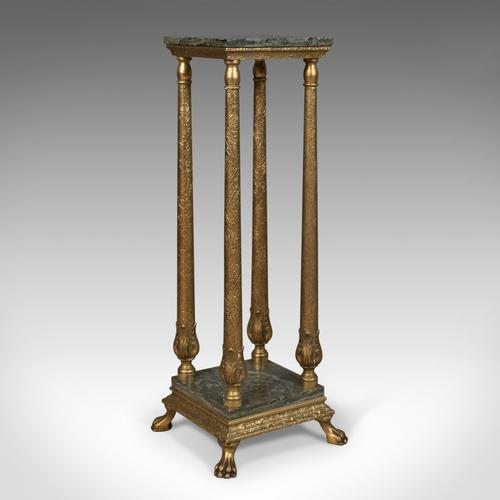 French Antique Pedestal, Marbled Plant Stand, Ormolu c.1900 (1 of 1)