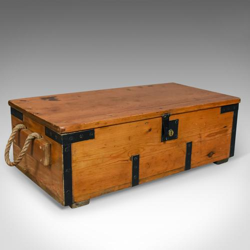 Antique Boat Builders Chest, English, Pitch Pine & Teak Trunk c.1900 (1 of 1)
