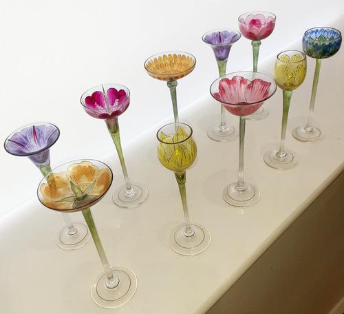 10 Fritz Heckert 'Flower Form' Enamelled Liqueur Glasses (1 of 12)