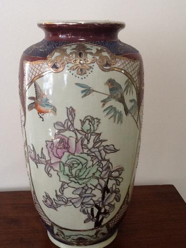 Beautiful Large Hand Painted Satsuma Vase (1 of 1)