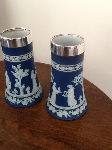 Pair of Wedgwood Silver Rim Spill Vases c.1912 (1 of 1)