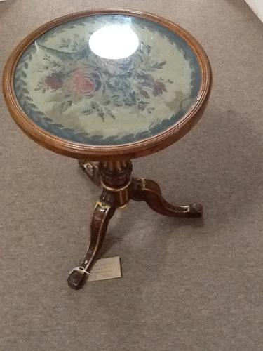 Wood & Gilt Occasional Table with Needle Craft Top (1 of 1)