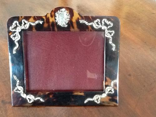 1880 Victorian Tortoiseshell & Silver Picture Frame (1 of 1)