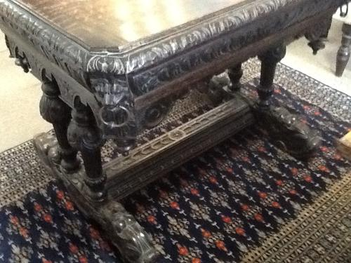 Victorian Carved Oak Gothic Library Table (1 of 1)