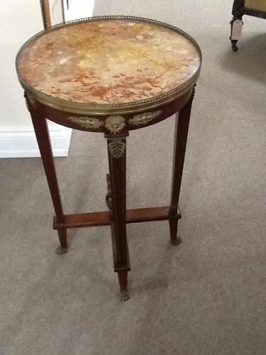 Mahogany & Italian Marble Circular Victorian Table (1 of 1)