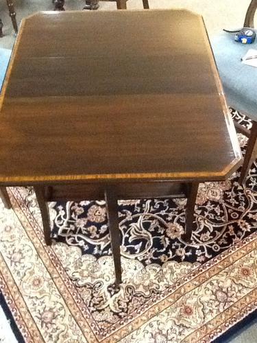 Small Edwardian Inlaid Mahogany Antique Sutherland Table (1 of 1)