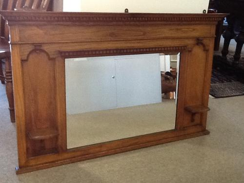 Oak Arts & Crafts Overmantle Mirror (1 of 1)