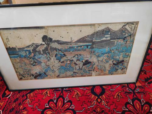 Japanese Woodblock Meiji Period Triptych of a Battle Scene (1 of 1)