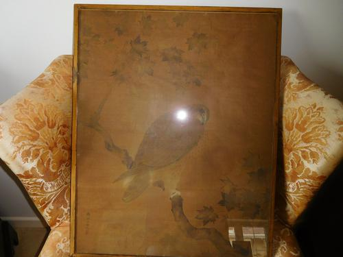 Hawk On Branch Chinese Scroll Painting (1 of 1)