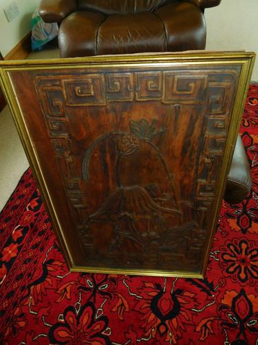 Chinese Framed Wood Carving of Poppies with Key Pattern Surround (1 of 1)