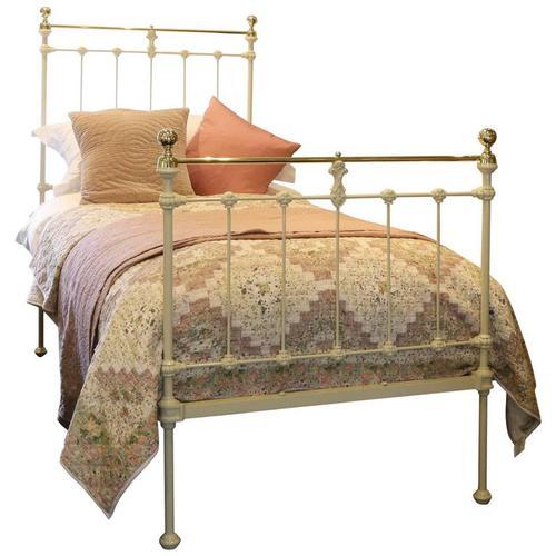 Brass & Iron Single Bed in Cream c.1895 (1 of 1)